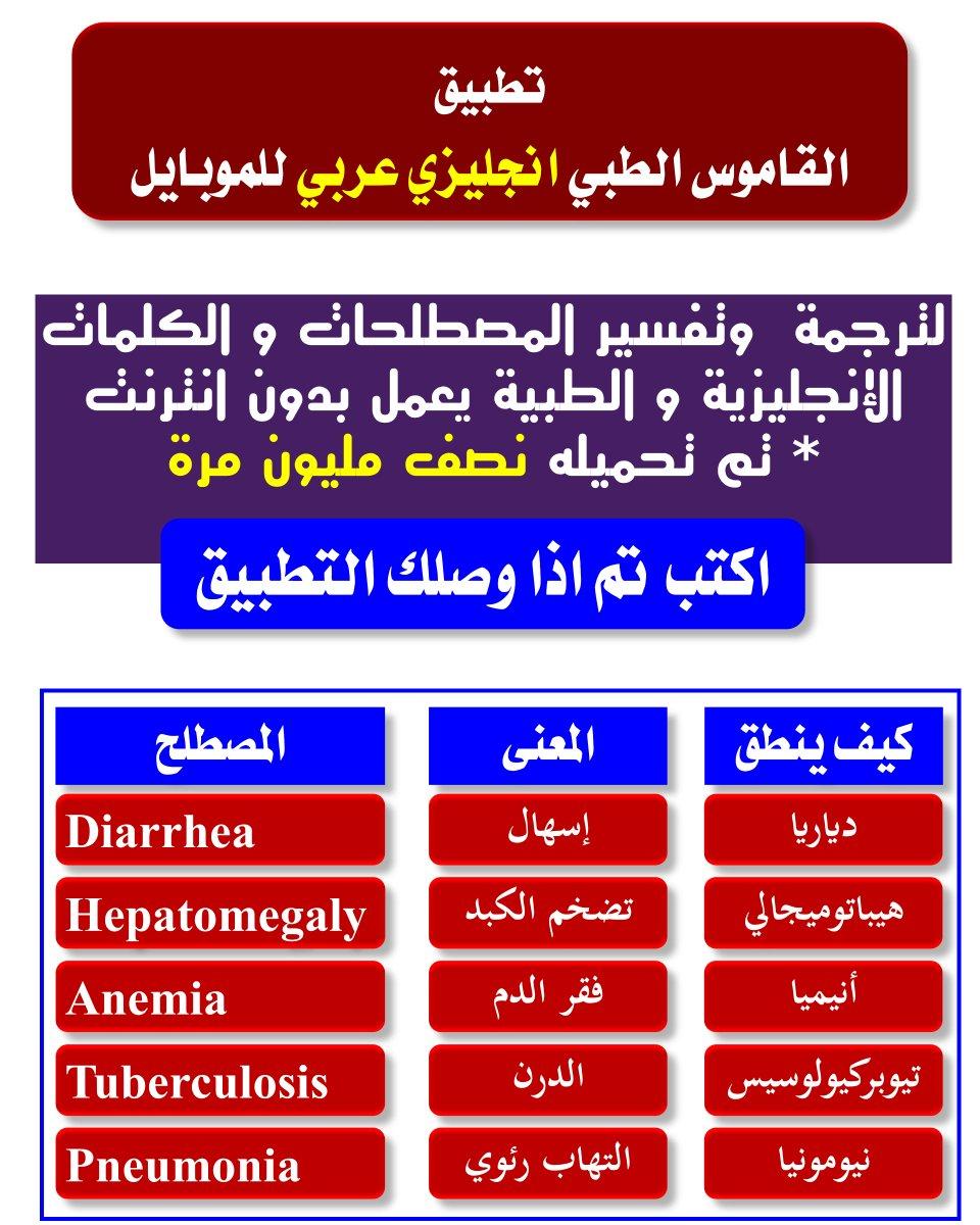 """صفحة الدواء on Twitter: """"تطبيق : القاموس الطبي انجليزي عربي ..."""