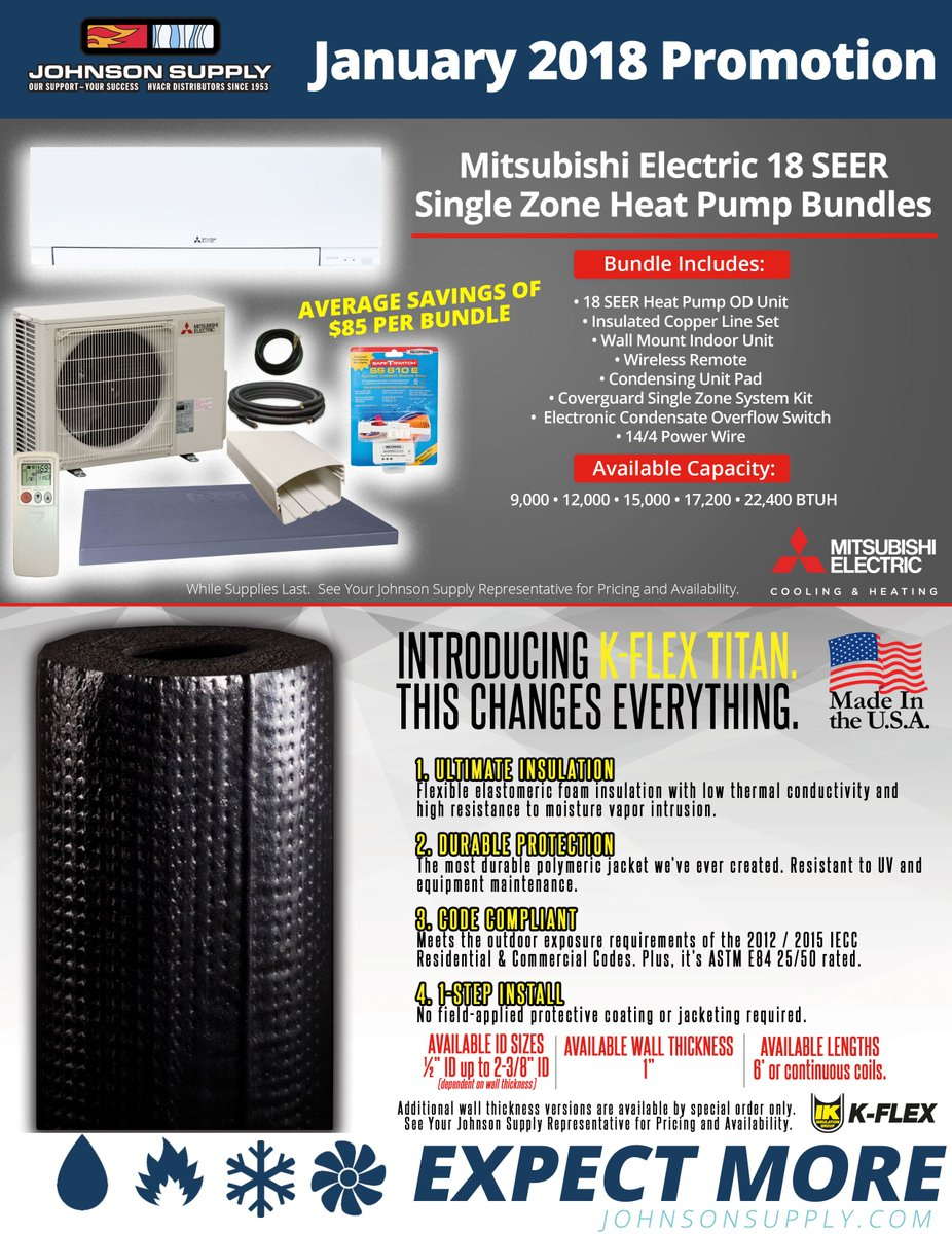 """Johnson Supply on Twitter """"Mitsubishi Electric and K Flex have teamed up with Johnson Supply to offer you savings in January … """""""