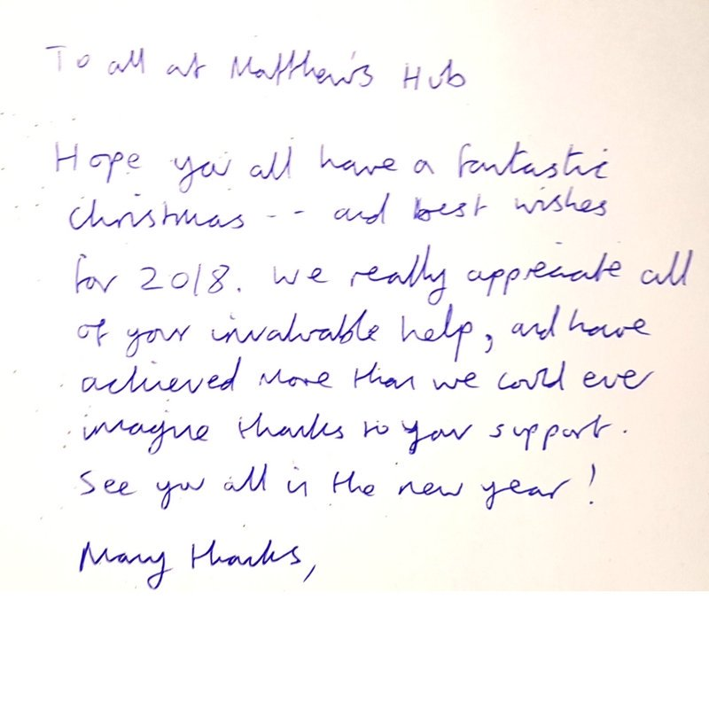 Matthews hub on twitter a lovely late christmas card from 2 of a lovely late christmas card from 2 of our members this captures everything we strive to achieve at matthews hub m4hsunfo