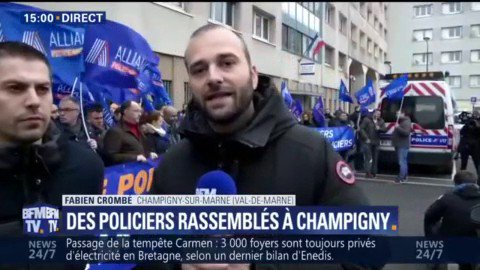 Des policiers manifestent à #Champigny p...