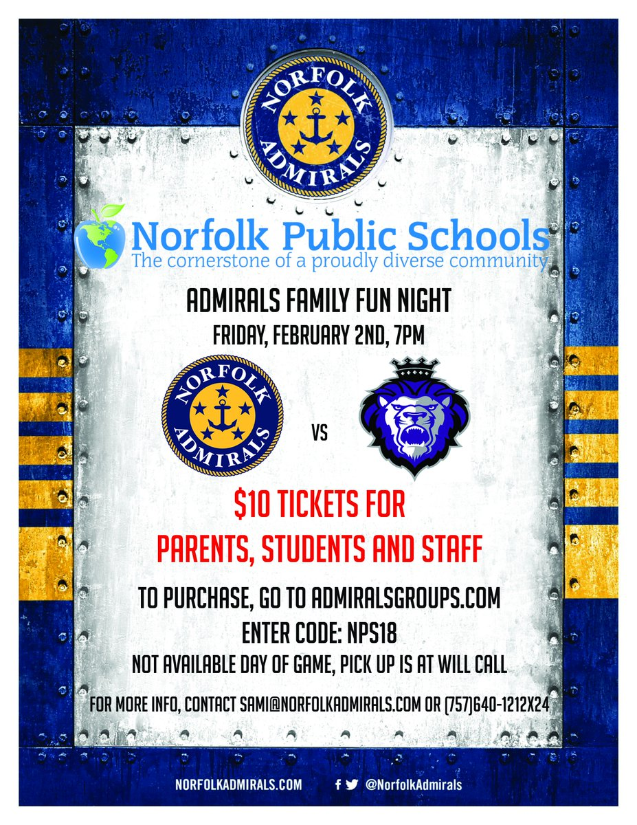 Norfolkpublicschools On Twitter Join Nps For The Norfolk Admirals