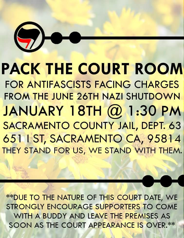 Court Support - Antifascists @ Sacramento County Jail, Dept 63 | Sacramento | California | United States