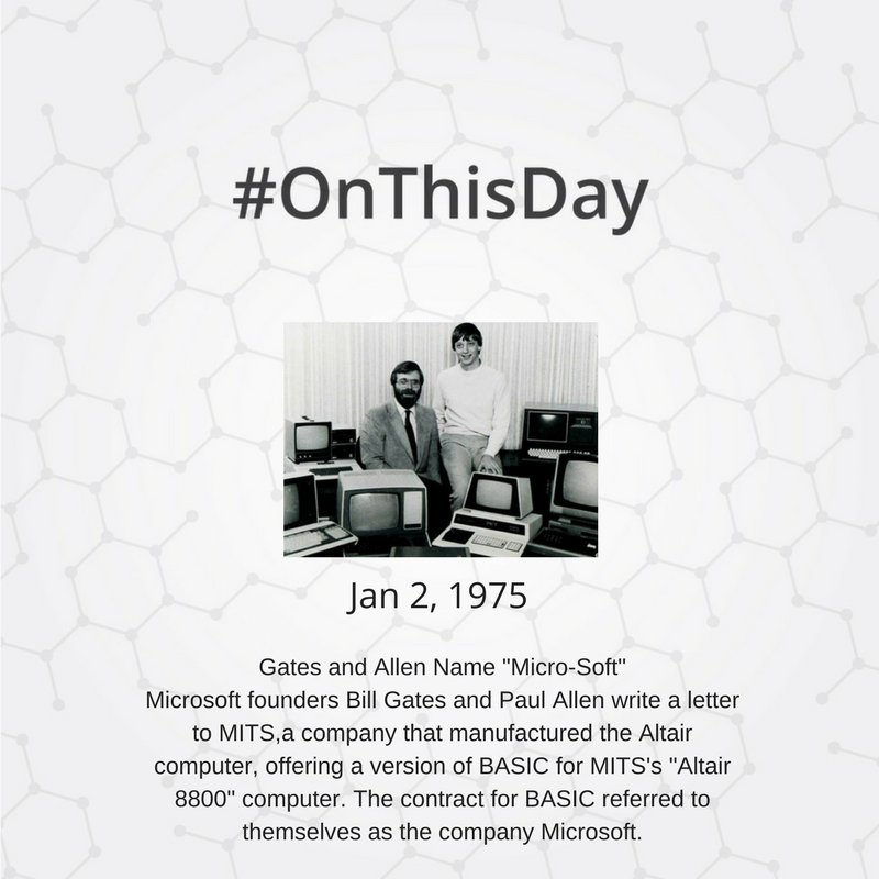 Hackerearth on twitter onthisday january 2 1975 gates and allen bill gates and paul allen write a letter to mitsa company that manufactured the altair computer offering a version of basic for mitss altair 8800 expocarfo