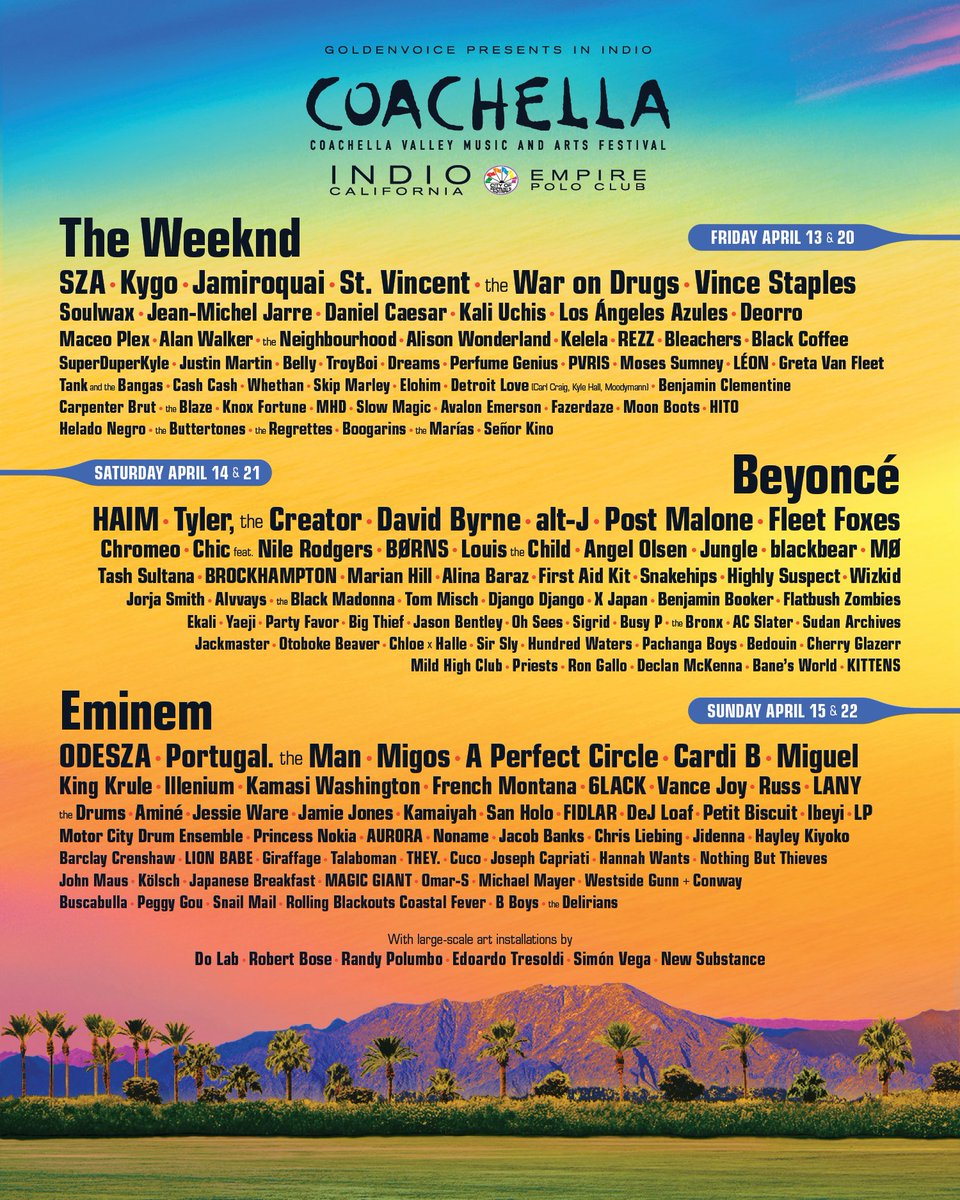 Coachella 2018 lineup: Beyoncé, Eminem and The Weeknd headline