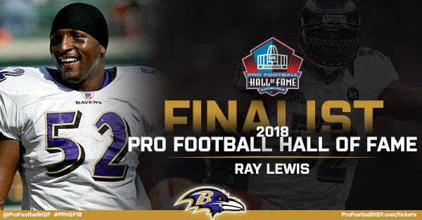Breaking News: @raylewis has been named a #PFHOF18 Finalist!