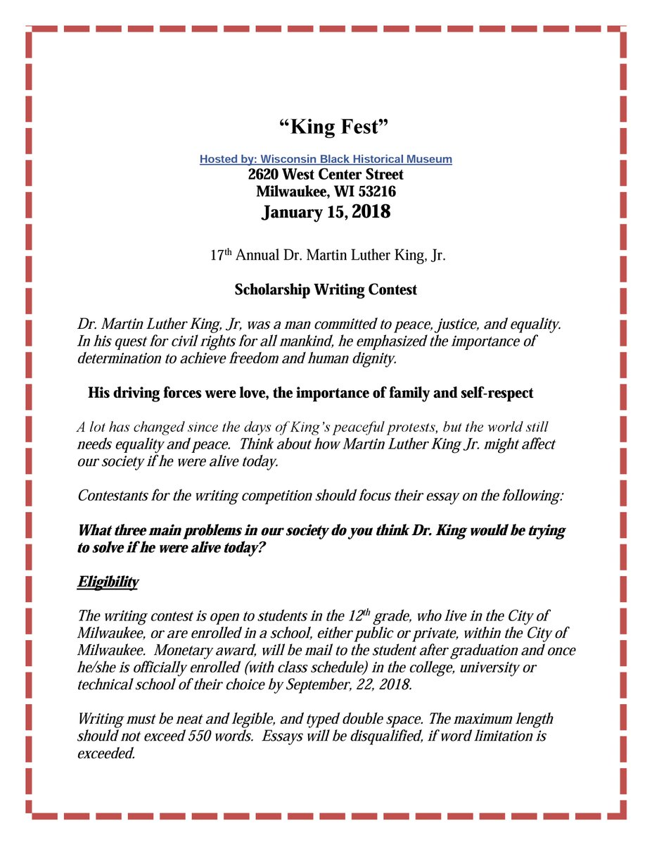 sen lena c taylor on twitter king fest hosted by the wisconsin  the winners of the competition will each receive a  scholarship toward higher  education expenses learn more from the flyerspictwittercomdgrlcfxywj