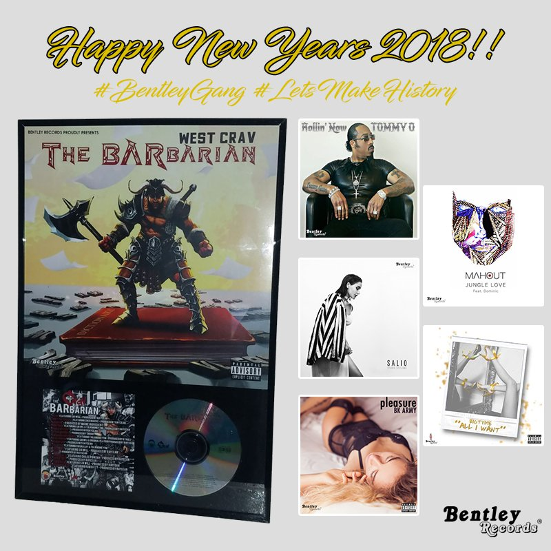 """Happy New Years 2018! If you thought yesteryear was phenomenal, lets make this year LEGENDARY.  """"We don't just make music, we create Classics"""" #BentleyGang  #BentleyRecords #HappyNewYear #NewYear2018 #NewMusic #Promo #Retweet  #HipHop #Rap #Pop #Music #RT #RP #Artist #Beats"""