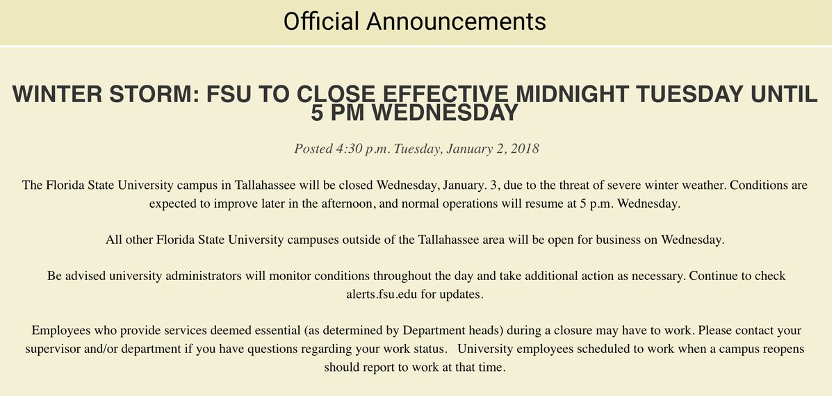 Florida state university on twitter the florida state university threat of severe winter weather conditions are expected to improve later in the afternoon and normal operations will resume at 5 pm wednesday publicscrutiny