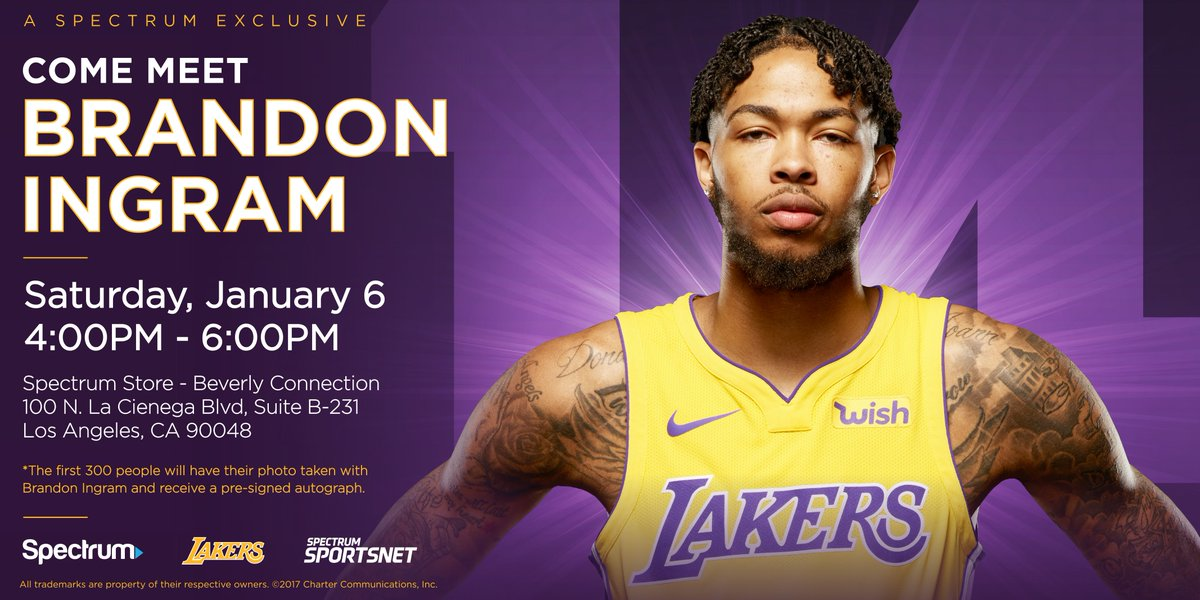 Attention @Lakers fans! Meet forward @B_Ingram13 at Beverly Connection TODAY between 4 PM and 6 PM. 🏀 #Lakers #LA #NBA
