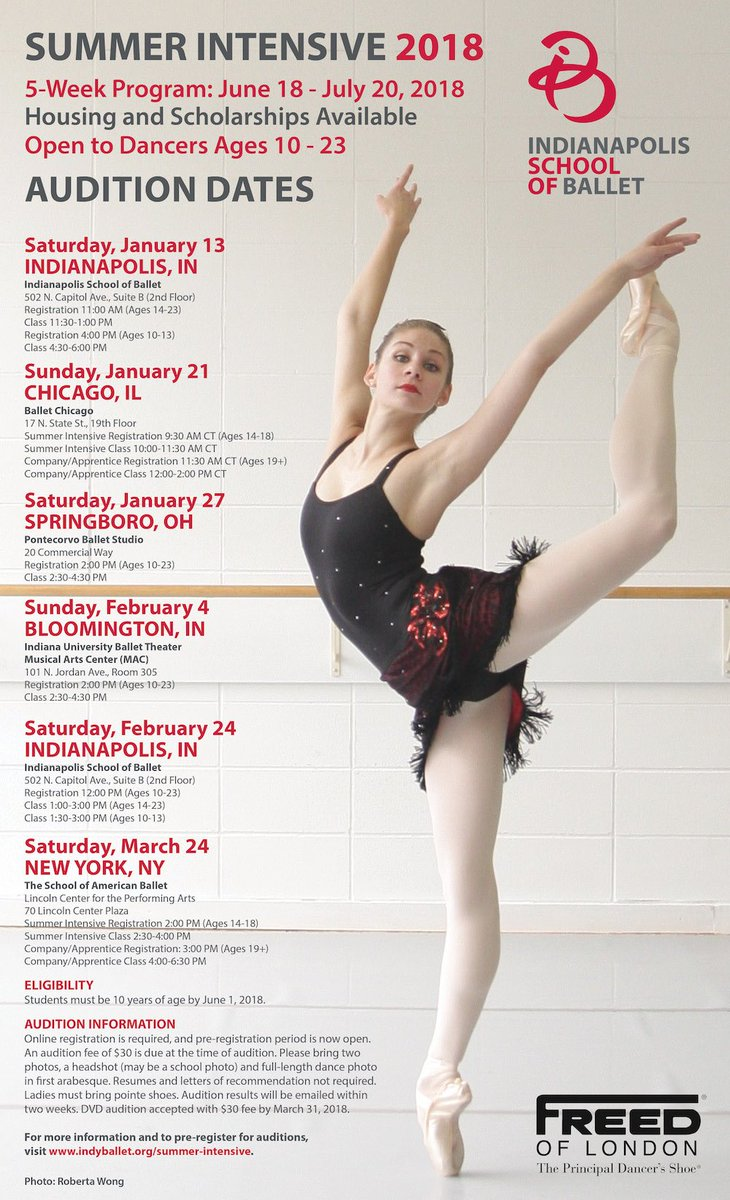 """Indianapolis Ballet on Twitter: """"Dancers, don't let the ❄ 🌬 get you down  ... think ☀ 😀 and secure your spot at an upcoming 2018 Summer Intensive ..."""