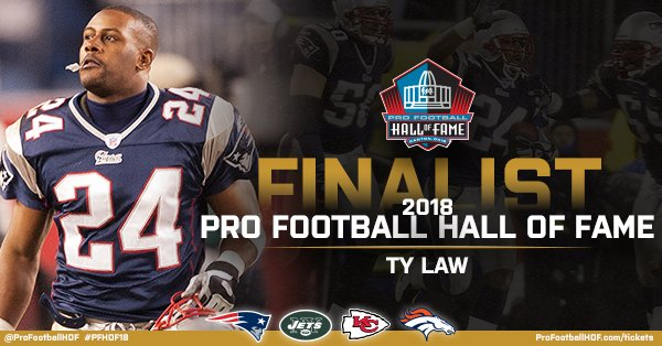 Ty Law has been named a #PFHOF18 Finalist!