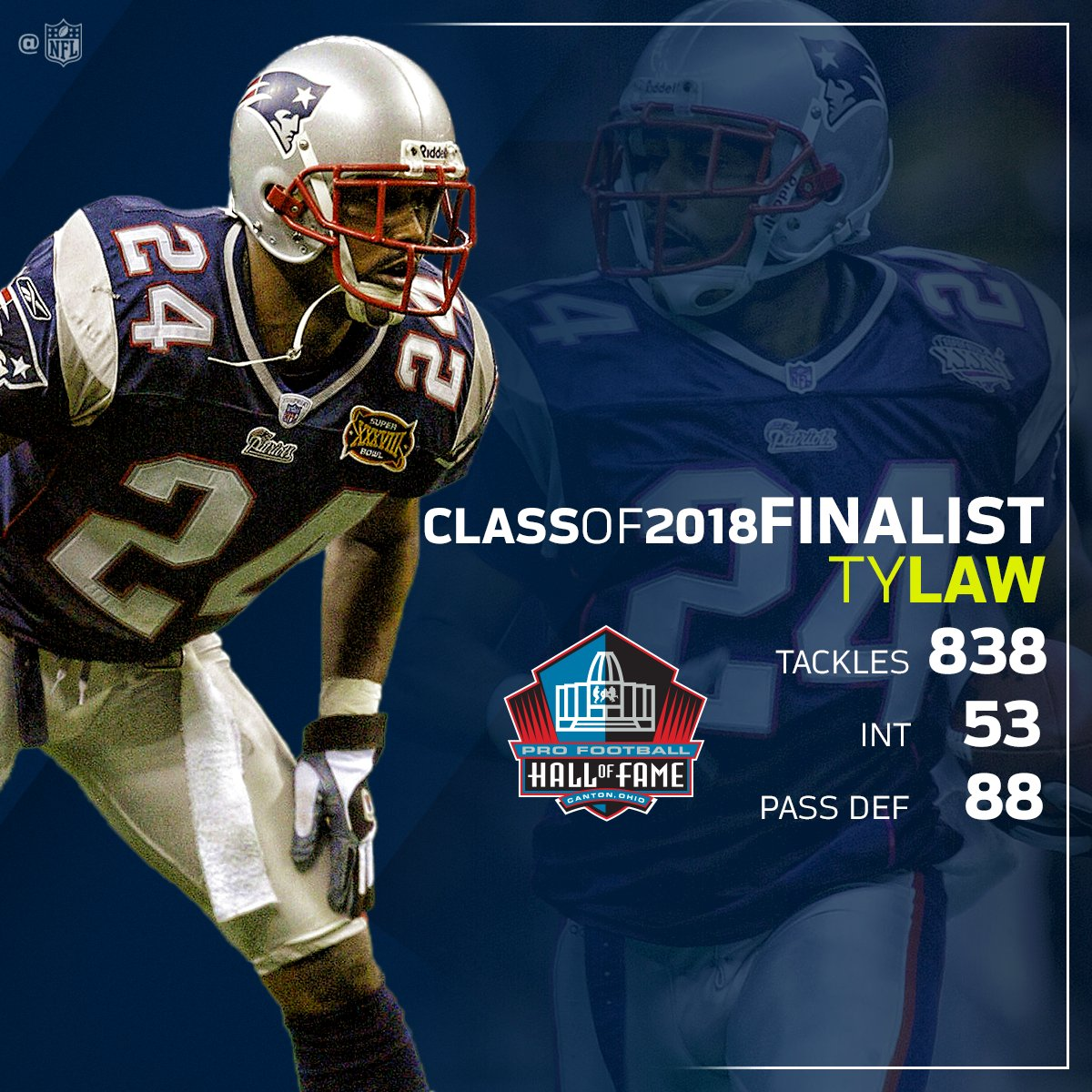 Ty Law! Finalist for the @ProFootballHOF Class of 2018! #PFHOF18  📺: Live NOW on @NFLNetwork https://t.co/Bvrt6xyM6E