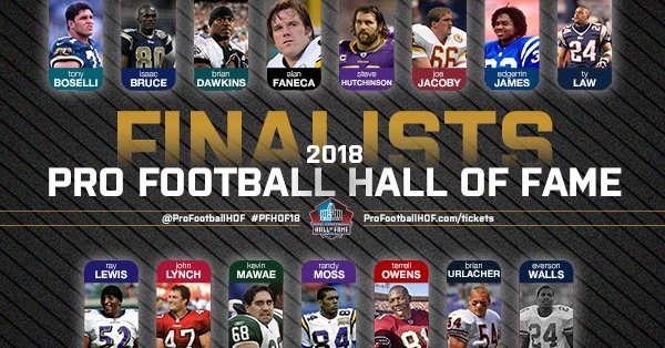 Congratulations to the 15 modern-era finalists! The official #PFHOF18 class will be selected on the eve of the Super Bowl.