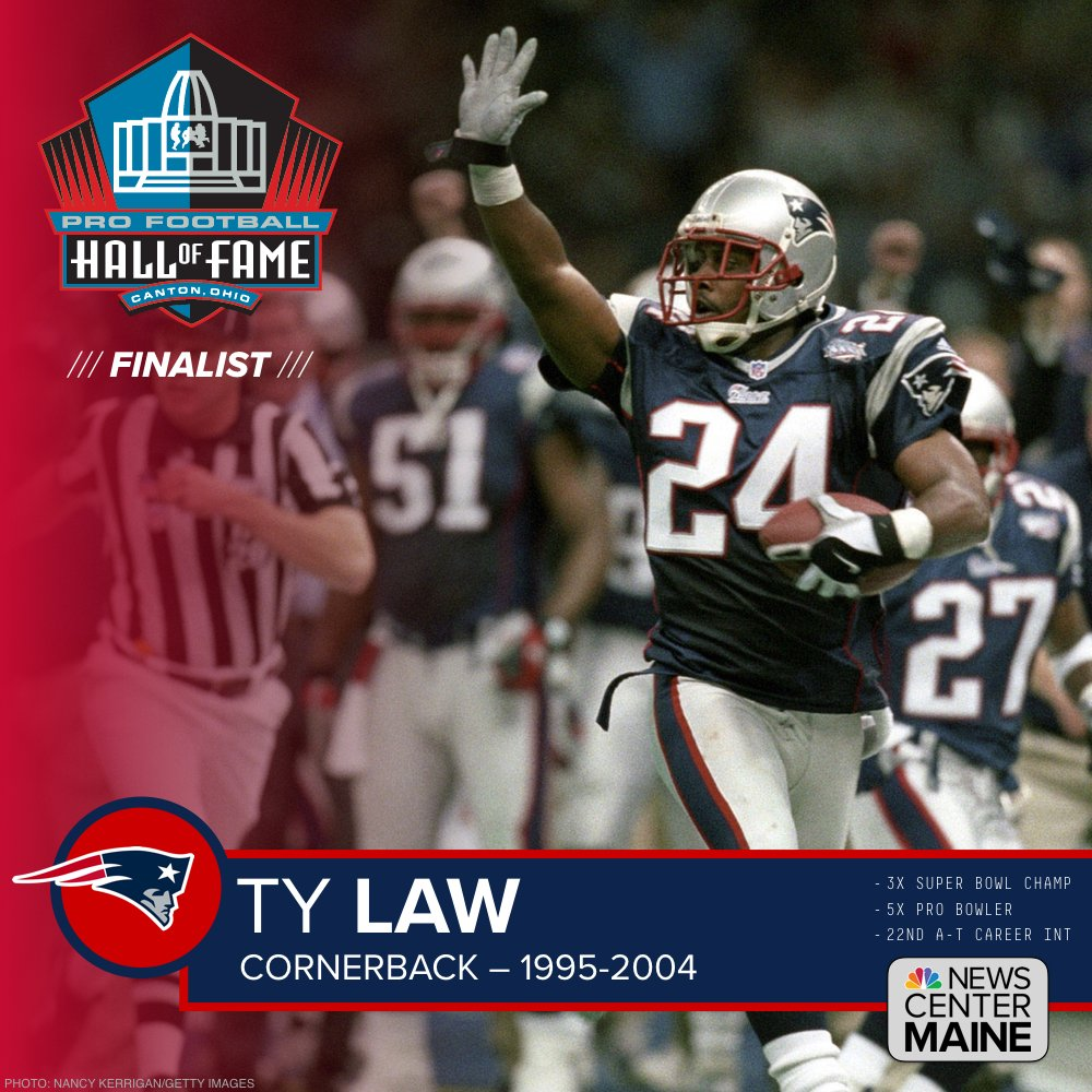 Congratulations to former #Patriots CB Ty Law — a @ProFootballHOF Class of 2018 finalist! #PFHOF18