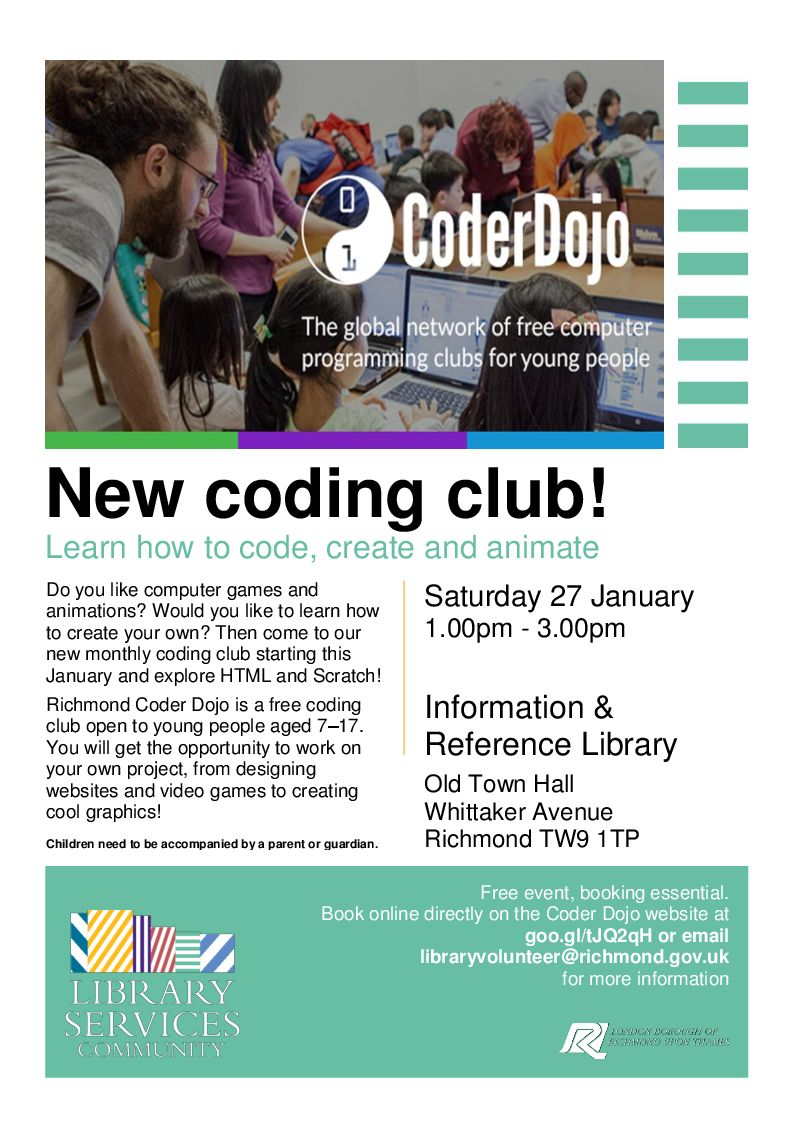 richmond libraries on twitter free coding club for young people