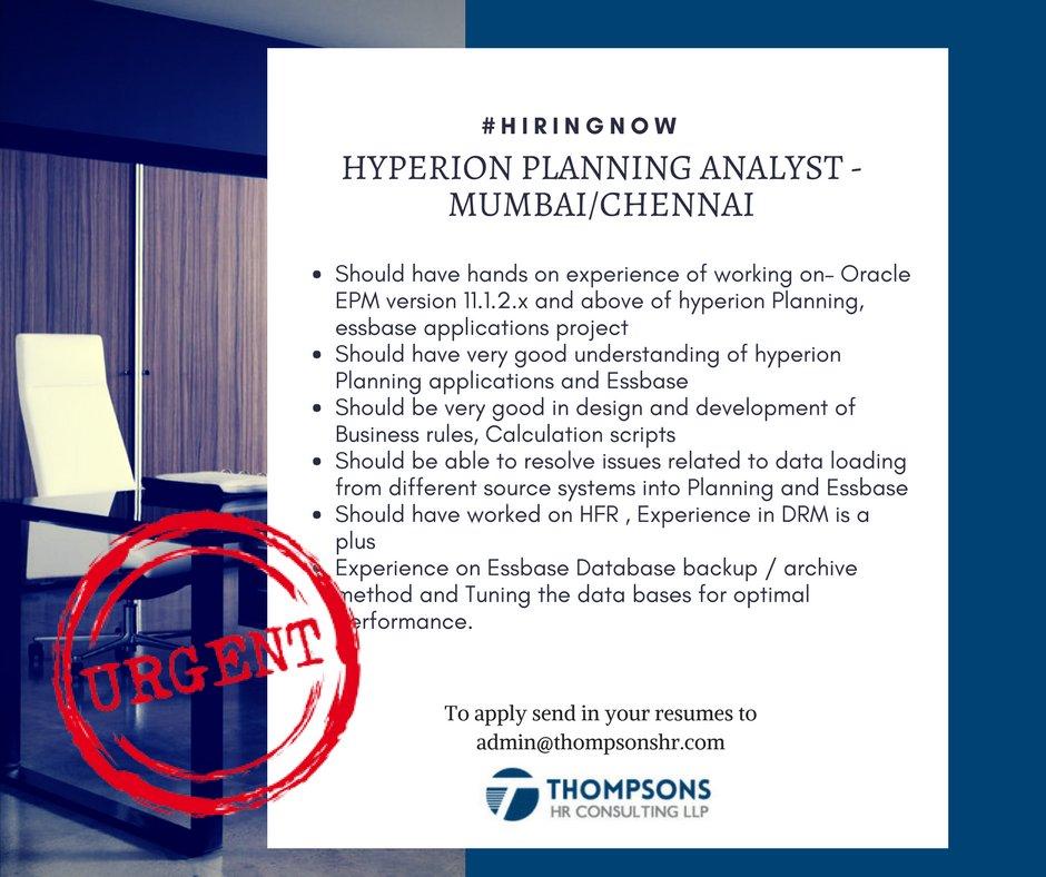 Thompsons Hr On Twitter Jobalert Looking For Hyperion Planning