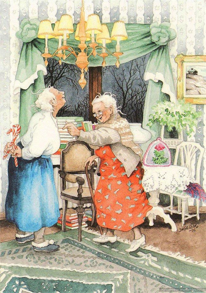 Веселые картинки о старушках, смешные