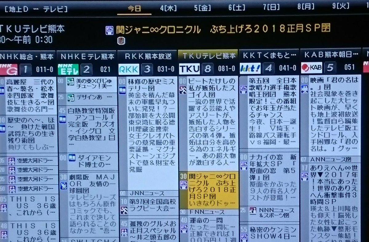 番組 熊本 の テレビ 今日