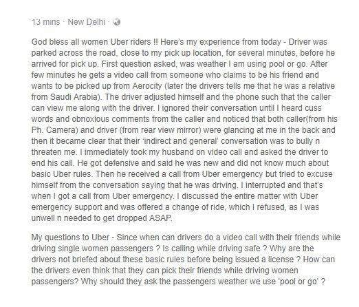 This is what happened with my wife today during her commute in Uber @Uber @Uber_Support https://t.co/wuQA9X7HbF