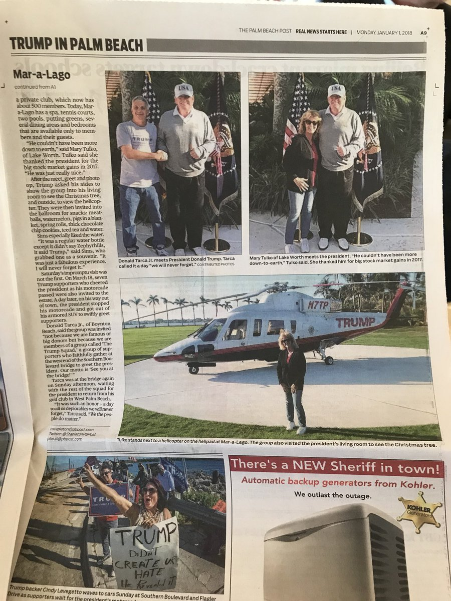 The @realDonaldTrump so few get to see & fewer will cover. Great group of supporters near Mar-a-Lago all last week & after stopping to say hello   sent a #potusbus to pick them all up and brought them to the club & hung out w/ them for 20 minutes chatting & taking selfies #maga