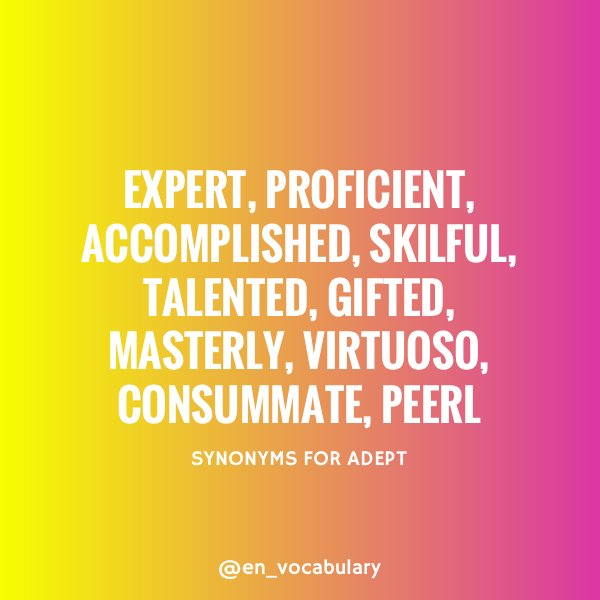 English Vocabulary On Twitter Adjective Adept A Dept Meaning