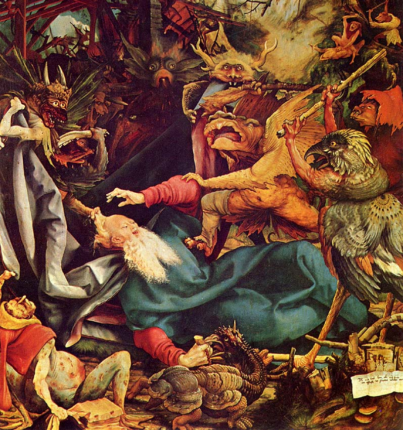 Inner right wing of the Isenheim Altarpiece depicting the Temptation of St. Anthony by Matthias Grünewald (1512-1516)
