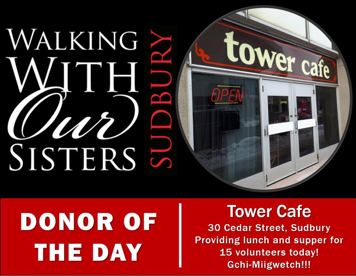 Wwos sudbury acknowledges tower cafe for providing lunch and supper to our volunteers on our first day of installation gchi miigwetch for your awesome