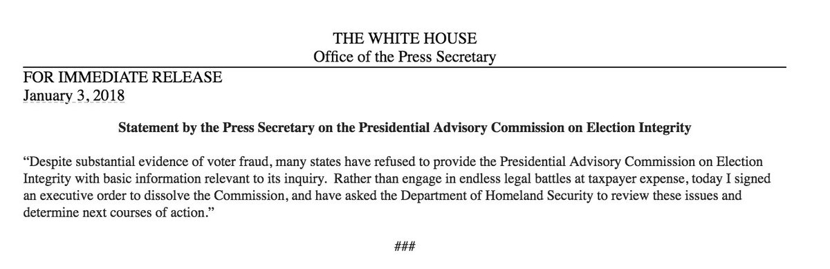 Trump dissolves election fraud commission per WH statement after states buck information requests