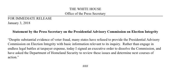 Trump is dissolving the voter fraud commission