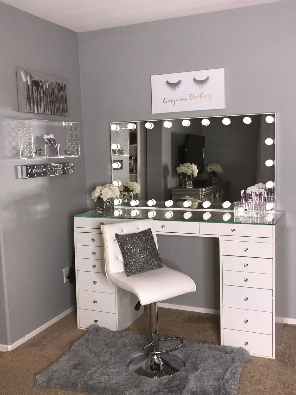 Impressions Vanity On Twitter This Vanity Setup From Mexibelle Is Too Perfect Vanityinspo Repost Vanitygoals Featured Impressionsvanity Hollywood Glow Panorama Extra Wide Vanity Mirror Slaystationpro 2 0 With Drawer Units