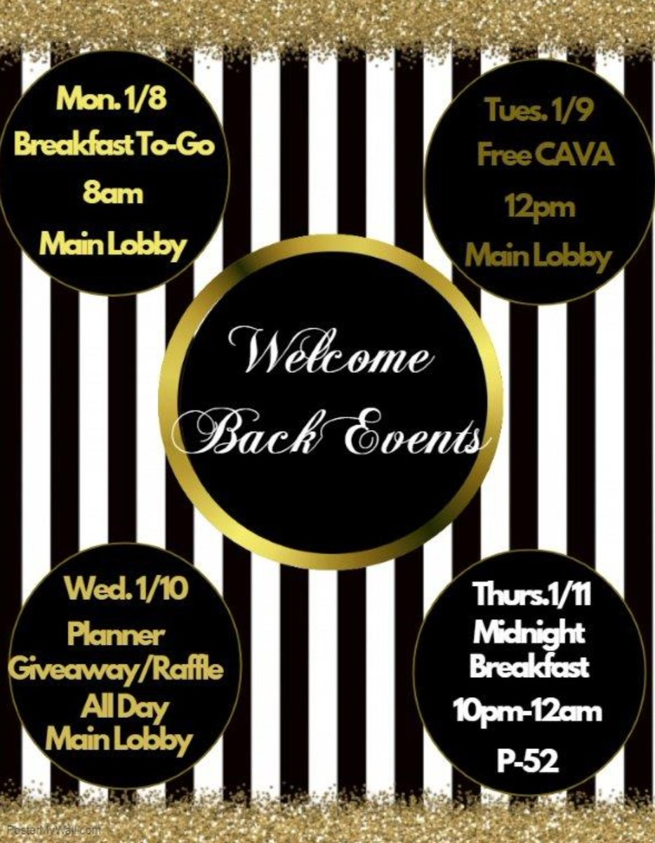 next week well be hosting various events as our way of saying welcome back check the flyer for dates times and locations hope to see you there