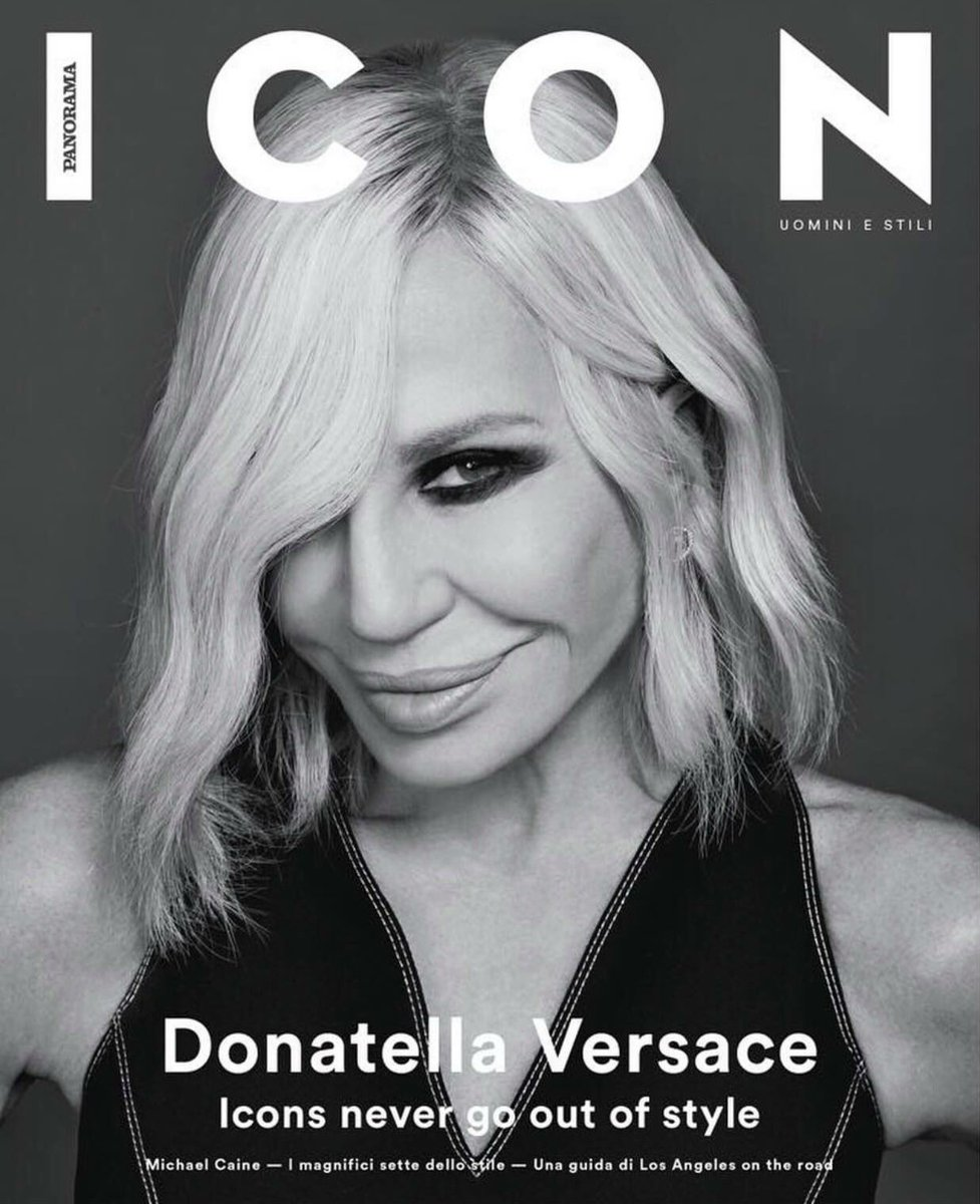 #DonatellaVersace is the first woman to be featured on the cover of @icon_panorama following her award as 'Fashion Icon of the year' from the British Fashion Council.  https://t.co/3RxPsl4NwR