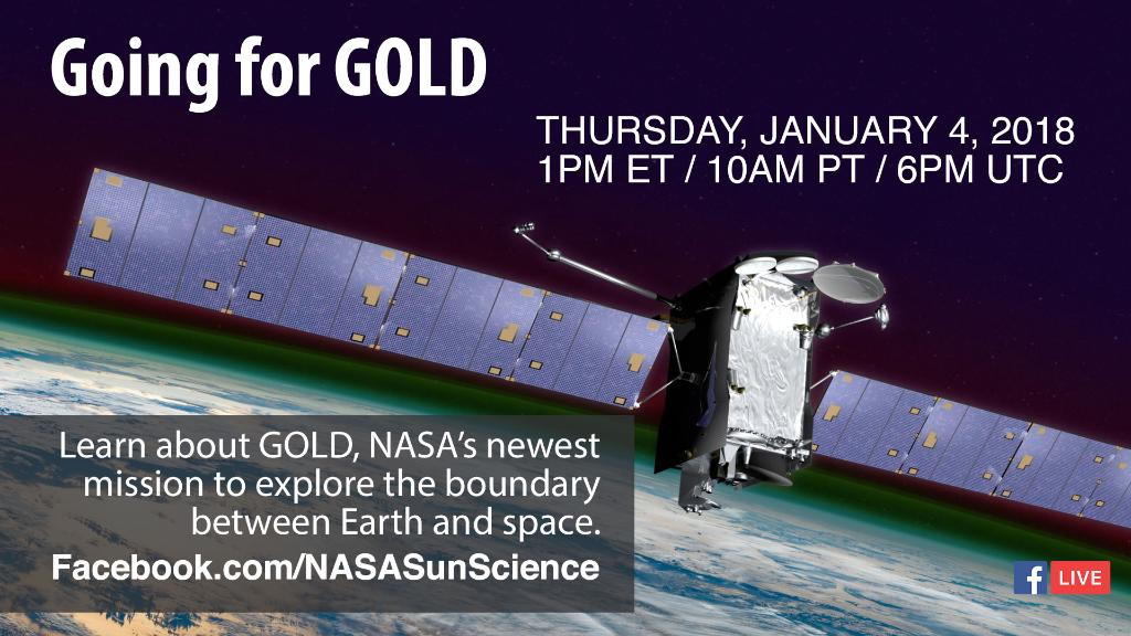 Our GOLD mission is set to launch later this month to study and explore the boundary between Earth and space. Join us tomorrow at 1 p.m. EST on Facebook Live to hear from our experts and ask them your questions about the mission: https://t.co/TS1rIzbtqP
