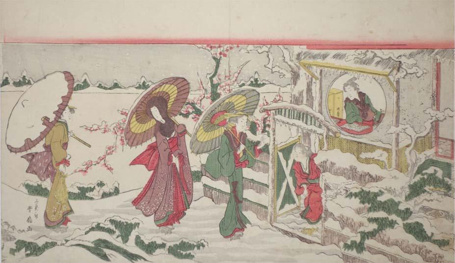 某ゲームにて葛飾北斎を女性化したキャラクターが登場しましたが、江戸時代の浮世絵でも歴史上の偉人を女性化することはすでに行われています。こちらは『三国志』の三顧の礼。孔明の家を訪れる劉備・関羽・張飛が女性たちの姿で描かれています。3/2より開催の「江戸の女装と男装」展で展示予定。