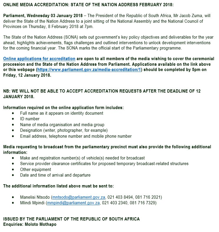 Parliament Of Rsa On Twitter Online Media Accreditation State Of