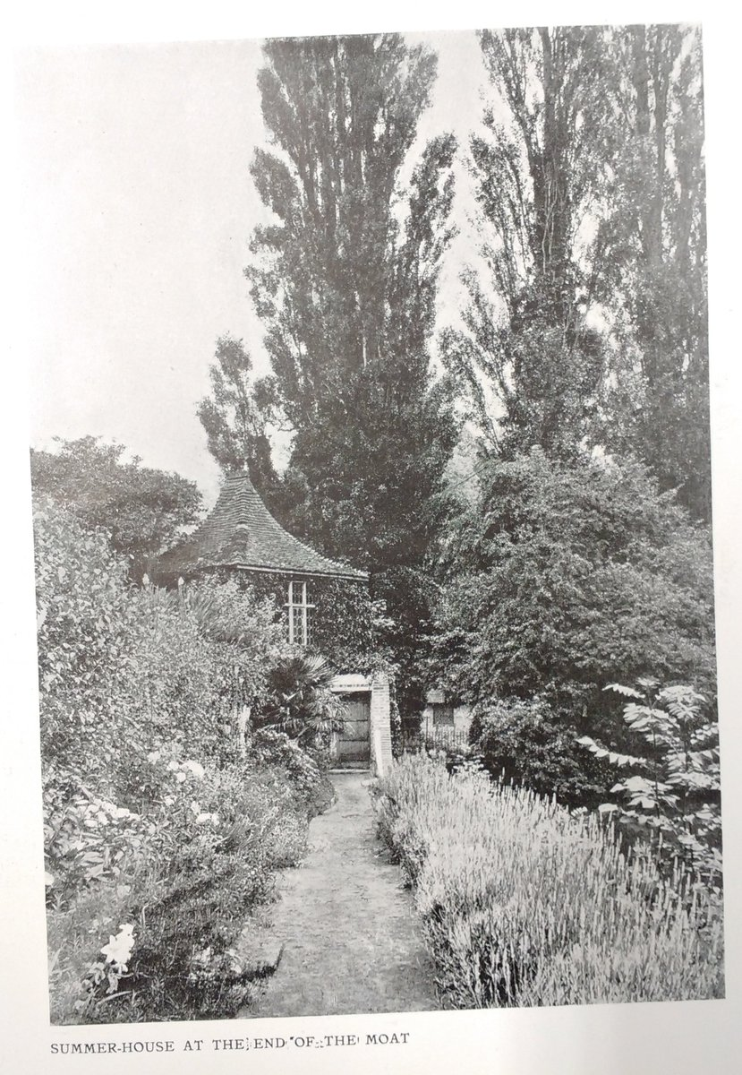 """Two great shots of Loseley – the Bothy (Summer House) & view of the moat. The author of the piece in the 1911 @ArchReview is unknown but has a lovely turn of phrase """"Nature – the abundant and generous Nature of Surrey – has not withheld any of her luxuriance""""! Gentler times!"""