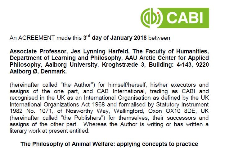 It's signing-book-contract-day. I have no idea whether this is a Faustian deal or not - but philosophy and animals, yeah! [also, I'm apparently part of the Arctic Center for Applied Philosophy. Didn't know that existed. But I'm cool with it] #CABI_Books #animalwelfare #philosophy https://t.co/WiCjV2YxXK
