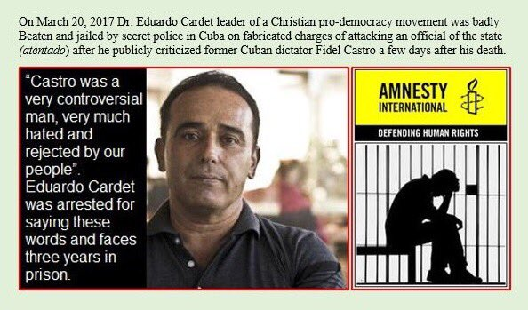 """During an interview with Madrid-based radio station esRadio, aired on March 18, 2017 Dr. Eduardo Cardet described the mourning in Cuba for Fidel Castro as """"imposed"""", and that Cubans who refused to mourn for the dictator faced sanctions from the Castro regime. https://t.co/UJ1khZg7P2"""