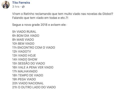 Bye Claire On Twitter Programacao 2018 Da Globo Atualizada Com Sucesso Apos Criticas De Ratinho Segue A Nova Grade
