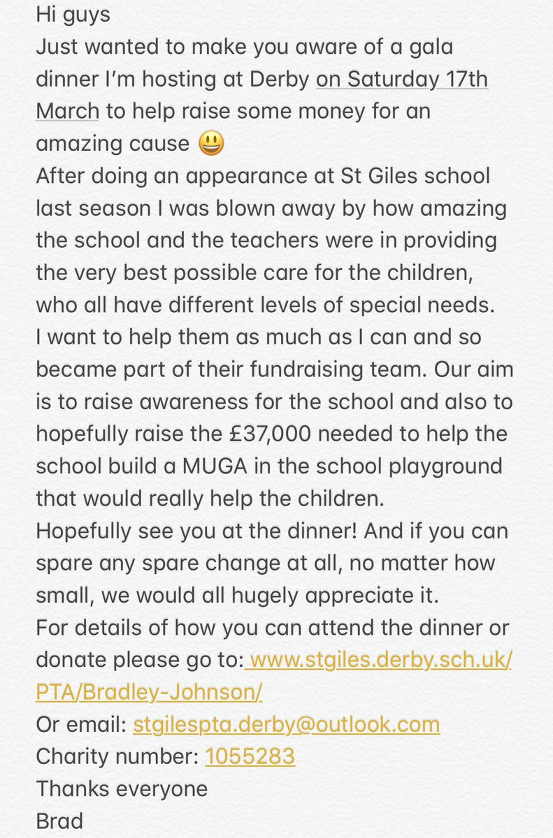 Hi everyone, I'm raising money for a great cause. If you can spare two minutes check out this link: stgiles.derby.sch.uk/PTA/Bradley-Jo…