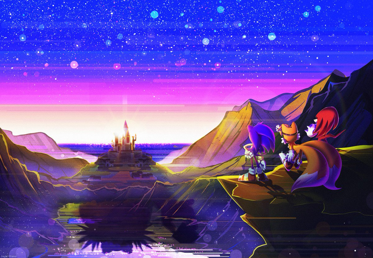 As the sun sets, its warm glow grazing the horizons, our heroes look upon their next brave adventure, in Project Sonic 300.  [Artwork by Promotional Artist, @jaykittens]