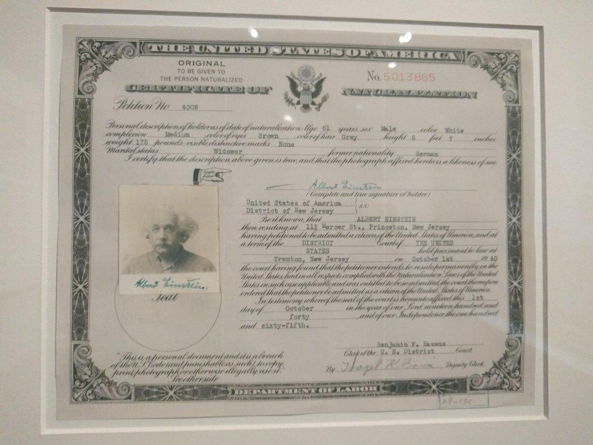 Joel Frohlich On Twitter Einsteins Us Certificate Of