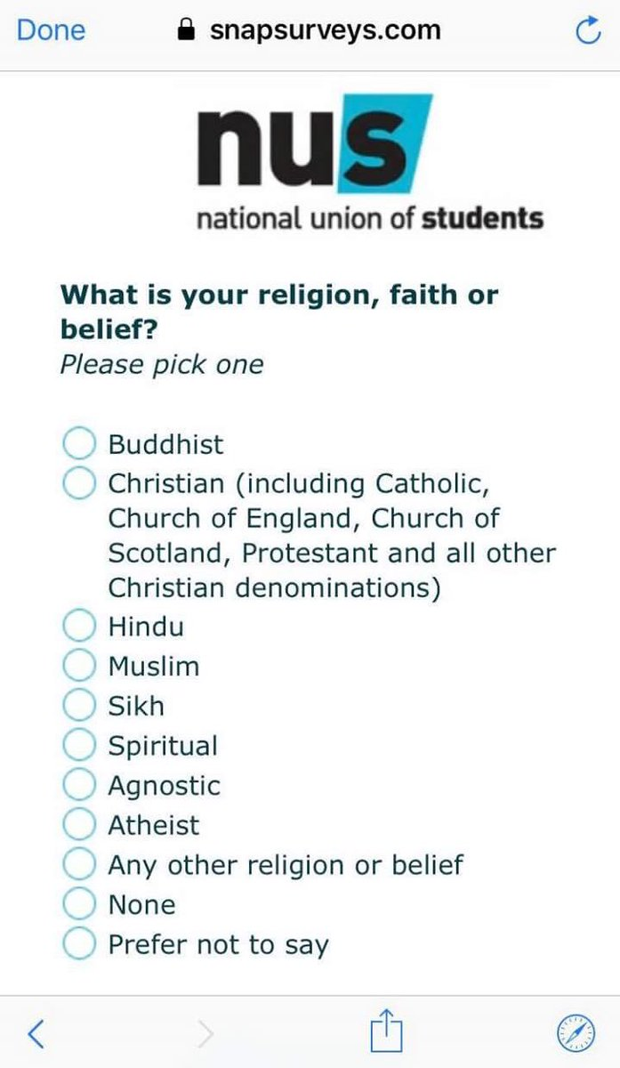 Tom Harwood On Twitter The NUS Sent Out A Survey Asking For - The biggest religion