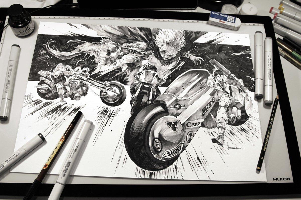 Kael Ngu On Twitter Akira Private Commission 2018 Akira アキラ Manga Tetsuo Kaneda Bike Ink Copic Traditionalart