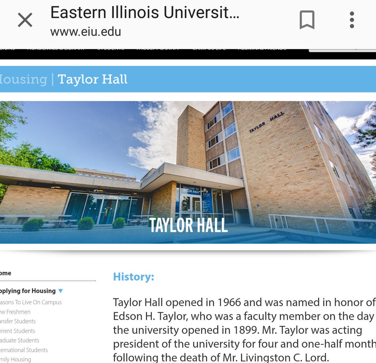 Dion J T Sports On Twitter Saw Taylorhall Was Trending On Twitter Thought Something Happened To My College Dorm Of 3 Years At Eiu I Was Wrong It Was About A