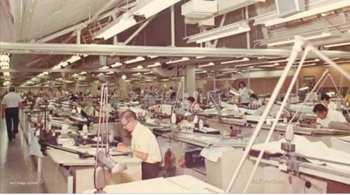 Apollo Era Engineers Drafting Room Open Warehouse With Tables Andlong Arm Table Lights