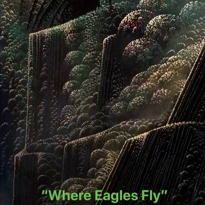"""Where Eagles Fly"" 1993 by Eyvind Earle, Disney Background Painter"