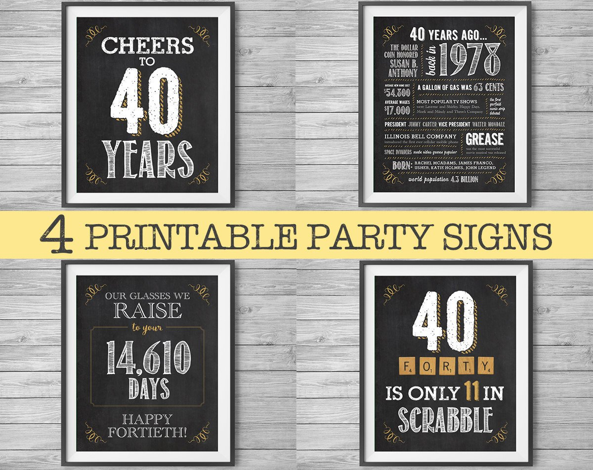 image relating to 40th Birthday Signs Printable titled Natalie Gagliano upon Twitter: \