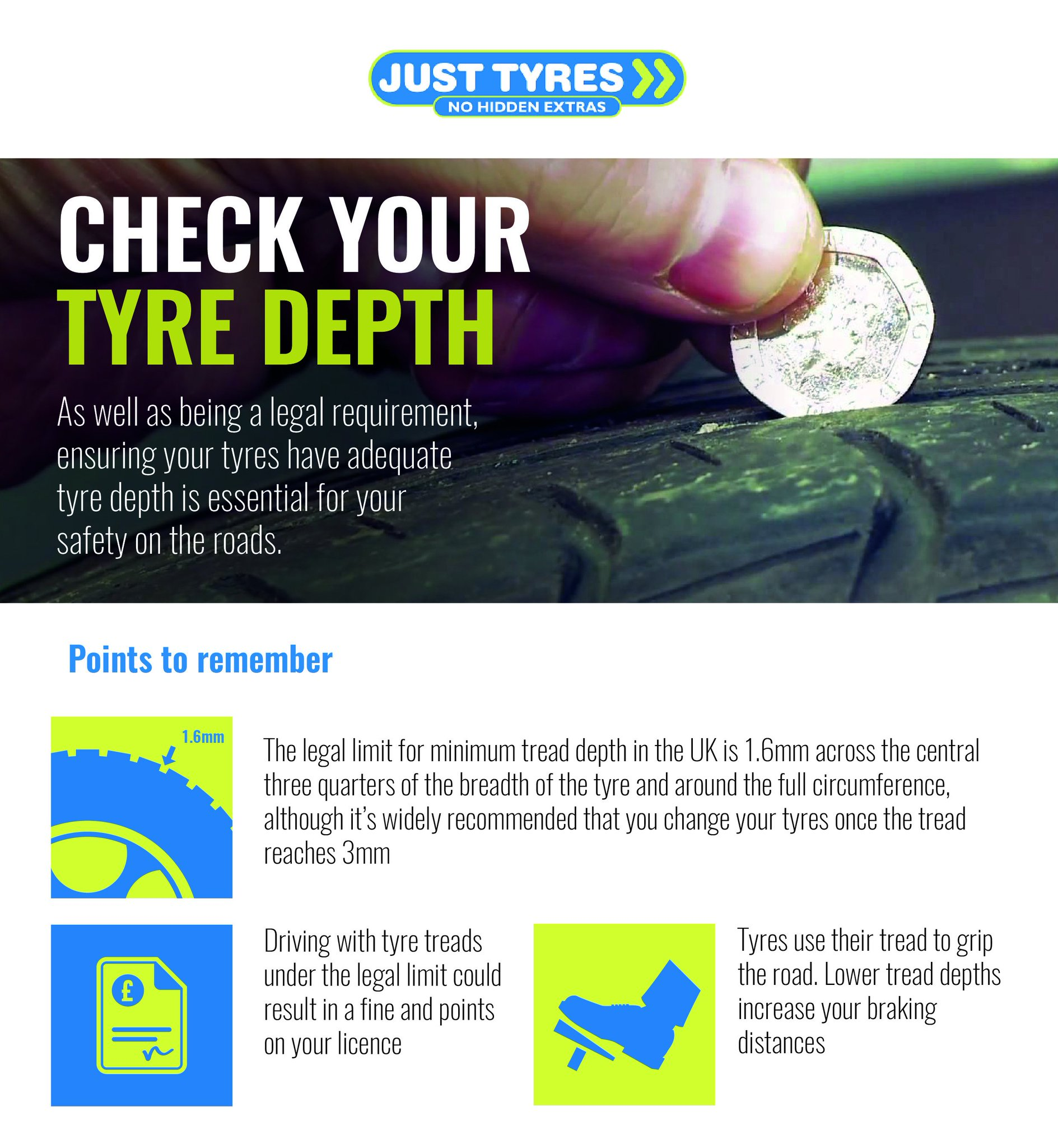"""Just Tyres on Twitter """"Did you know that lower tyre tread depths"""
