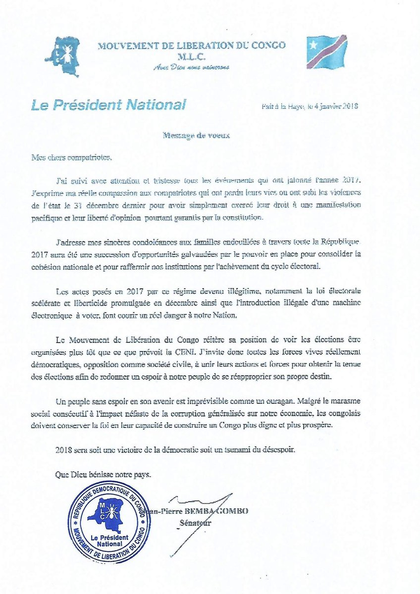 Eve Bazaiba En Twitter Message Des Voeux Du Sénateur Jean